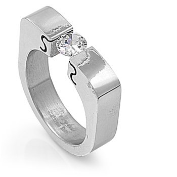 (Stainless Steel Cubic Zirconia Tension Set Solitaire Ring 6MM Size 10)