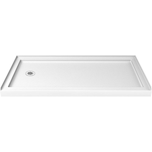 DreamLine SlimLine 30 in. D x 60 in. W x 2 3/4 in. H Left Drain Single Threshold Shower Base in White