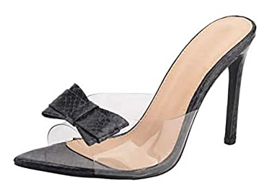 Jiu du Women's Sexy Clear Wedge Slip On Pointed Toe Summer Shoes Slingback Slippers Stiletto High Heel Dress Sandals Size: 6.5