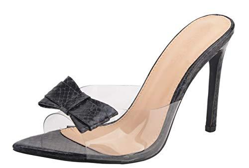 Jiu du Women's Sexy Clear Wedge Bowknot Slip On Pointed Toe Summer Shoes Slingback Slippers Stiletto High Heel Dress Sandals Black Serpentine PU Size US9