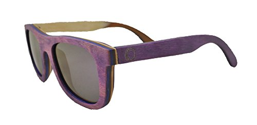 Skateboard Wooden Sunglasses for Men or Women, Wood Sun Glasses in Purple with Blue and Brown Layers and Purple Polarized Lenses, Trendy Wood Frame Sunglasses, Wayfarer Sunglasses - Purple Wayfarers