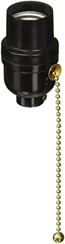 Leviton 95065 Electrolier 2-Piece Lamp Holder With 6-1/4 In Pull Cord, 660 W, Incandescent, Medium, Phenolic Body ()