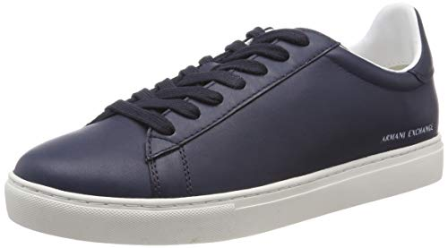 A|X Armani Exchange Men's Low Rise Leather Lace Up Sneaker, Navy, 7 M US