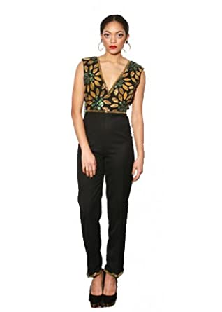 6a50937cd44 Vivi Floral Embellished Bodice Jumpsuit UK 8 Black  Amazon.co.uk  Clothing