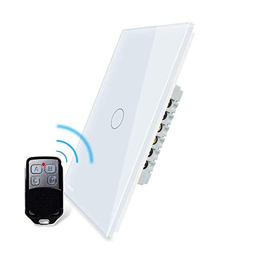 LIVOLO White Wireless Remote Switch with LED Indicator Touch Wall Light Switch US Standard Vertical 1 Gang 2 Way, AC 110-220V, (With a Mini Remote, But No Battery 27A/12V), VL-C501SR-11