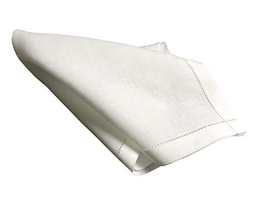 - Thomas Ferguson Men's Plain Linen Handkerchiefs Punchspoked (Set of 2) 16.5In Sq White