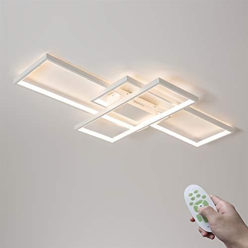 Moderno Regulable LED Lámpara de Techo Sala 95W Rectángulo Diseño Dormitorio con Control Remoto Metal Acrílico Luces de…