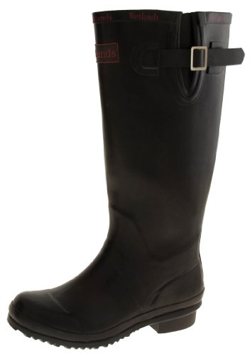 Wetlands Womens Black Rubber Waterproof Wellington Boots US (Waterproof Wellington Pull)