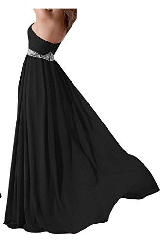 Toskana novia estilo completo Forma de Corazón Noche de gasa. Para ropa largo dama de honor Party Ball Prom negro