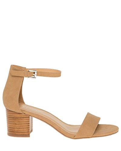 LE CHÂTEAU Ankle Strap Mid Block Heel Sandal,11,Camel