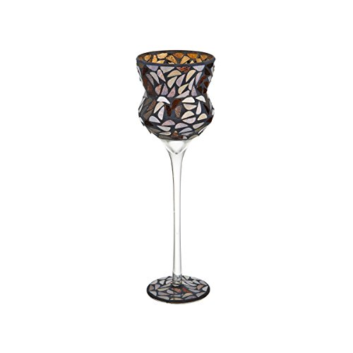 ELEMENTS Glass Mosaic Goblet Candleholder, 13-Inch