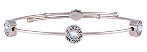 - Harley-Davidson Womens Rose Gold Tone Three Circle Bangle Bracelet HSB0122 (7.5)