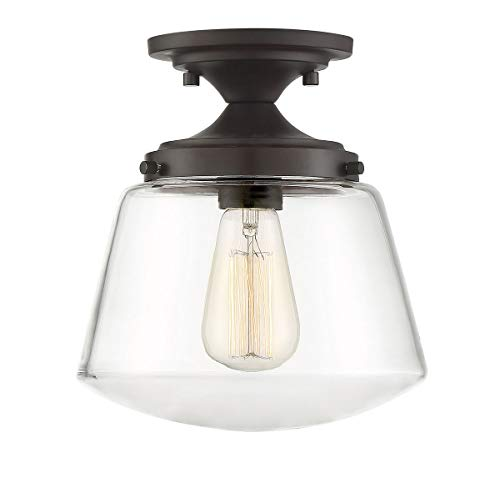 Trade Winds Lighting TW60044ORB 1-Light Transitional Schoolhouse Semi-Flush Mount Pendant Ceiling Light, 100 Watts, in Oil Rubbed Bronze