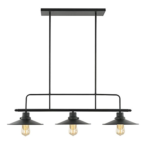 Light Society Margaux 3-Light Kitchen Island Pendant, Matte Black, Vintage Modern Industrial Chandelier (LS-C114)