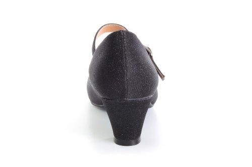 Escarpins Style Mary Jane en Tissu Brillant Noir pour Filles à Talon Large.31