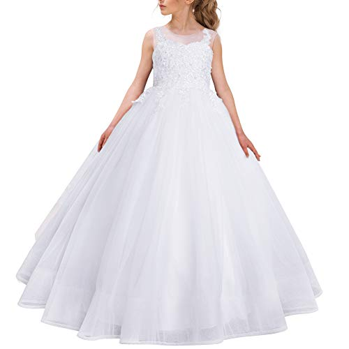 CQDY Flower Girl Lace Dress Embroidery Pageant First Communion Dress Wedding Ball Gown for 2-11 Years Old White ()