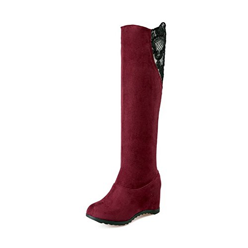 Allhqfashion Women's Frosted Pull-on Round Closed Toe Kitten-Heels High-top Boots Claret ekVKXh9cDq