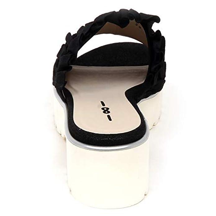 Uno 8 F1958 Sandalo Donna Tissue Black 181 Scarpe Zeppa Shoe Woman