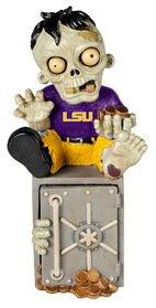 Forever Collectibles NCAA LSU Tigers Unisex Zombie Figurinezombie Figurine Bank, Team Color, One Size