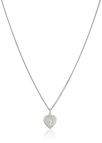 Sterling Silver Petite Heart-Shaped Miraculous Medal with Stainless Steel Chain, 18