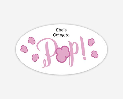42ct, Going to Pop Stickers, Baby Shower Popcorn Stickers, 2 inches (368-3-PP-OV)