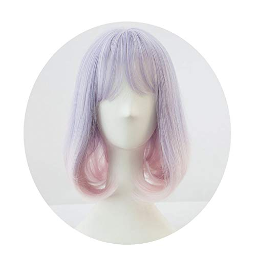 (Purple gradient pink Synthetic Hair Cosplay Wig lolita wig Costume)
