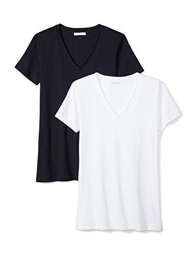 Lightweight 100% Supima Cotton Short-Sleeve V-Neck T-Shirt, 2-Pack, XL, White/Navy (100% Cotton Womens Tee)