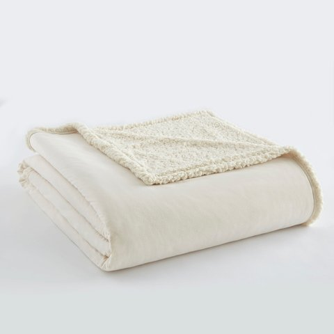Shavel Home Products Micro Flannel Reversible Sherpa Electric Heated Blanket Ivory King/California King Blanket