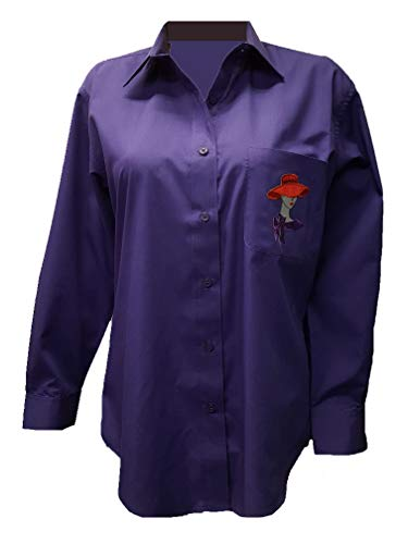 Sequin Red Hat Lady Bling Purple Cotton Blend Button Up Shirt (Md)
