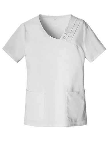 Cherokee Women's Scrubs Luxe Crossover V-Neck Pin Tuck Top, White, X-Small