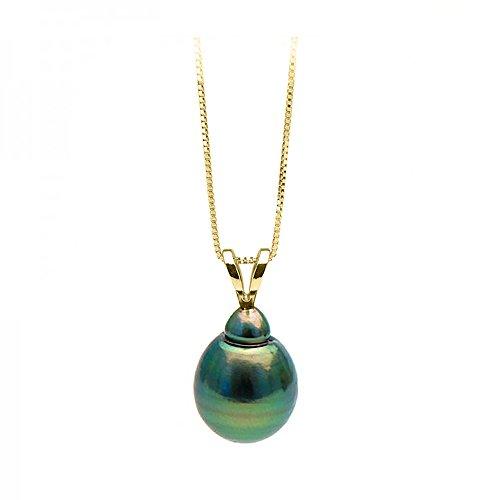 Black Tahitian Cultured Pearl Pendant,9.0-10.0mm,AAA,14K-YG Box Chain,Split Bale,Clasp. 14k Yg Box