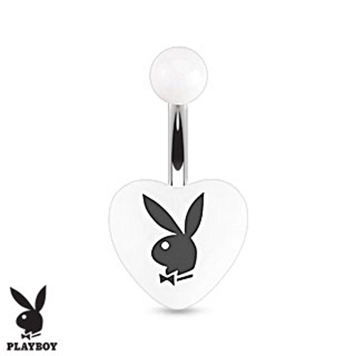Playboy Bunny Printed Heart Acrylic 316L Surgical Steel Navel Ring (Sold by (Dangling Playboy Navel Ring)