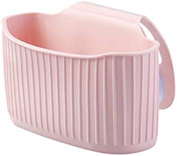 DCCRBR キッチンラックシンクドレンラックサクションカップ付きキッチンパンチガジェット収納バッグドレインバスケット 餐具篮 (Color : Pink)