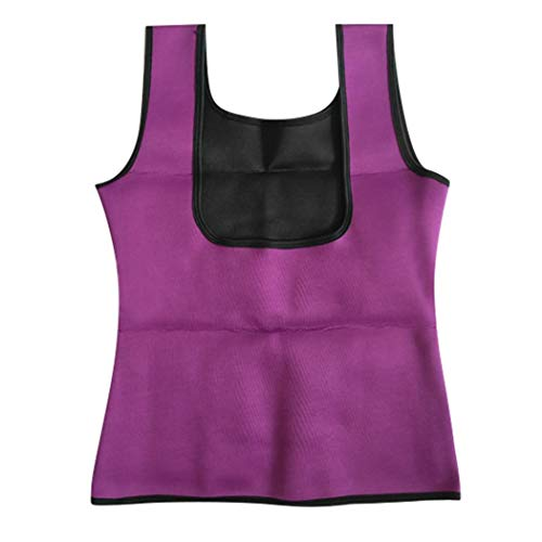 lazinem Women Casual Slimming Sleeveless Neoprene Yoga Vest Body Shapewear Tops Purple