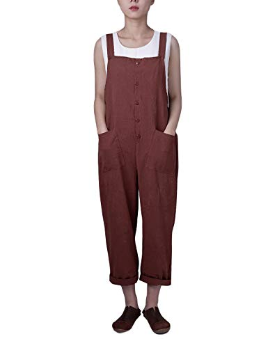 Gihuo Women's Retro Style Cotton Linen Button Front Baggy Bib Overall Pocket Jumpsuit Romper Plus Size (Coffee, Small)