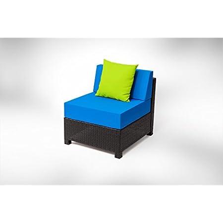Mcombo 7pc Luxury Wicker Patio Sectional Sofa Set Blue