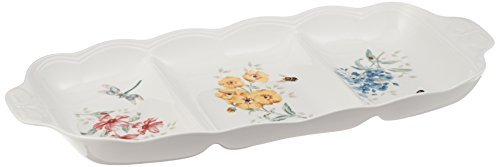 Lenox Butterfly Meadow 3 Part Divided Serving - Vegetable Divided Server