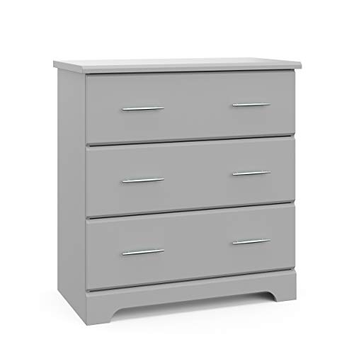 Stork Craft Storkcraft Brookside 3 Drawer Chest Kids Bedroom Dresser with 3 Drawers, Wood & Composite Construction, Ideal for Nursery Toddlers Room Kids Room, Pebble Gray