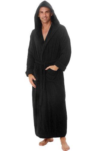 (Spa Style Men's Hoooded Terry Bathrobe 52 Inch Length (Black))