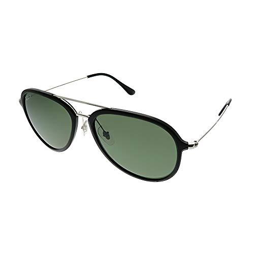 Ray-Ban RB4298 Aviator Sunglasses, Black/Polarized Green, 57 mm (Sind Ray Ban Sonnenbrille Polarized)