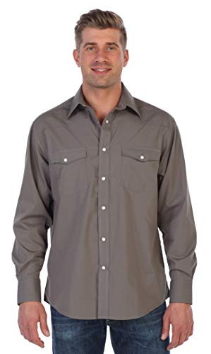 (Gioberti Men's Solid Long Sleeve Western Shirt with Pearl Snap-on Buttons, Gray, Large)