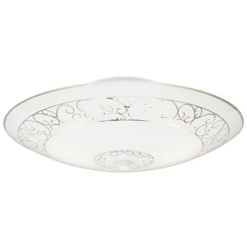 Westinghouse 6620600 Two-Light Semi-Flush-Mount Interior Ceiling Fixture, White Finish with White Scroll Design Glass by Westinghouse