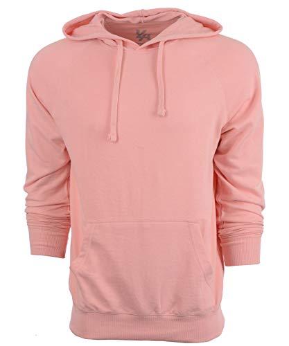 YoungLA Hoodies for Men Pullover Raglan Lightweight Sweatshirt 524 Salmon (Pink Terry Hoodie)