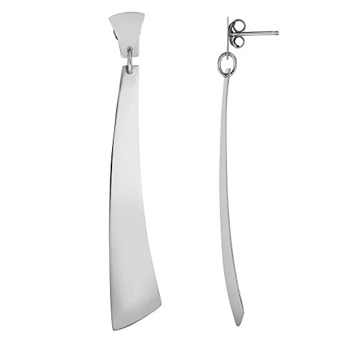Argenté avec finition rhodium 12 x 70 mm brillant Long Soles D on court Element Fancy Drop Boucles d'oreilles sur Post