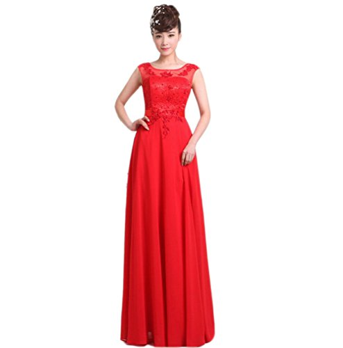 VogueZone009 Womens Bateau Neck Chiffon Formal Dresses with Lace and Backless, Red, 16 by VogueZone009