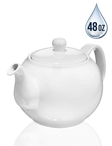 SAKI Large Porcelain Teapot, 48 Ounce Tea Pot with Infuser, Loose Leaf and Blooming Tea Pot - White