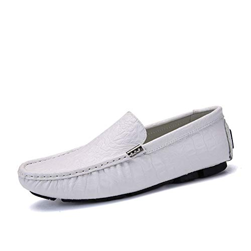 Loafers Men's Genuine Leather Shoes Men Lightweight Boat Shoes Mocassini Uomo Sapatillas,White,7 (Triple Shoe Cabinet)