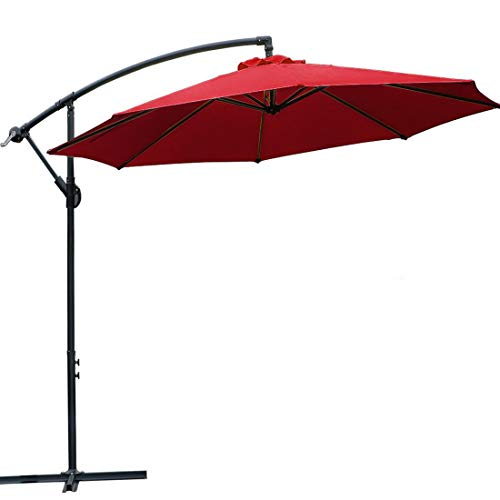 WARM HARBOR Offset Hanging Patio Umbrella Aluminum Outdoor Cantilever Umbrella Crank Lift (10 Ft-Claret)