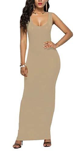pujingge Women's Sleeveless Maxi Tank Sheath Solid Color Scoop-Neck Sexy Dress Khaki L