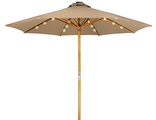 (Trademark Innovations 9' Solar Powered LED Lighted Wood Frame Patio Umbrella (Tan) )